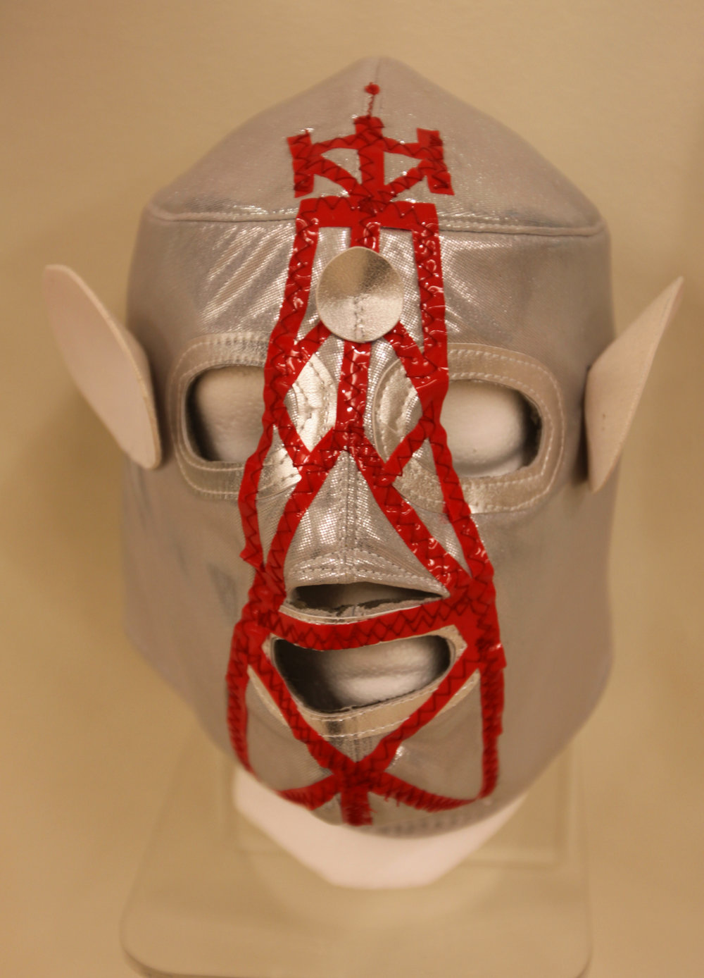 """Silver Red Satellite Mask""  Mixed media"