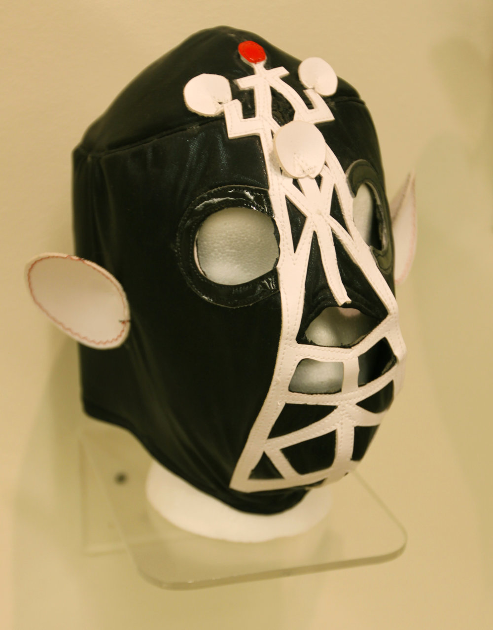 """White and Black Satellite Mask""  Mixed media"