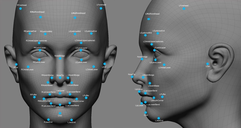 Biometric Facial Points. Each point represents a person's unique biological property.