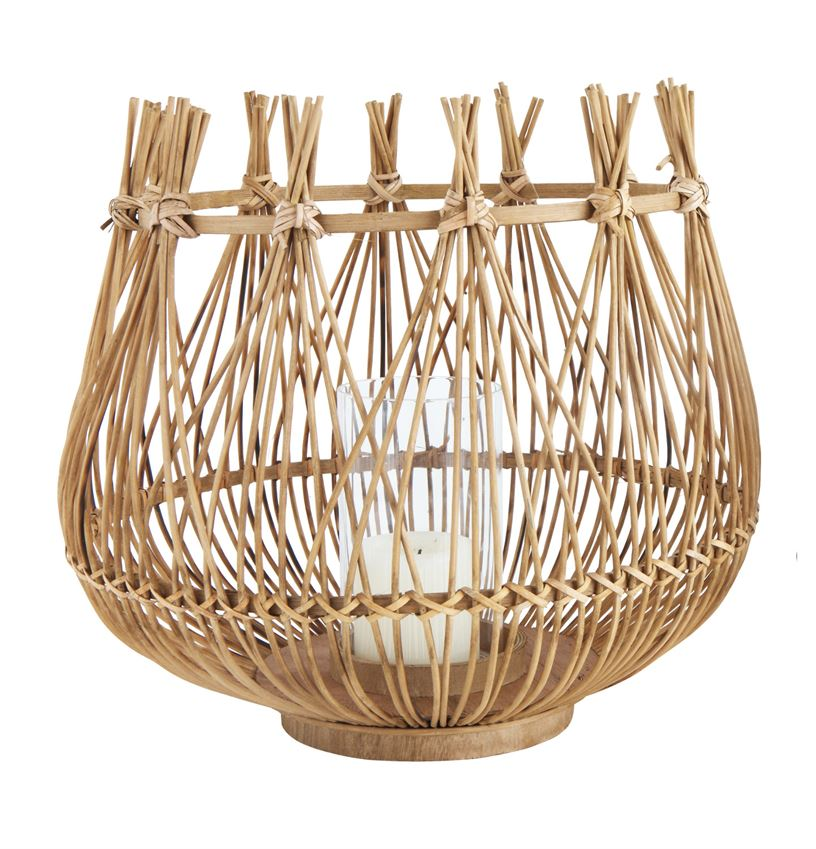 Bamboo & Glass Lantern Large