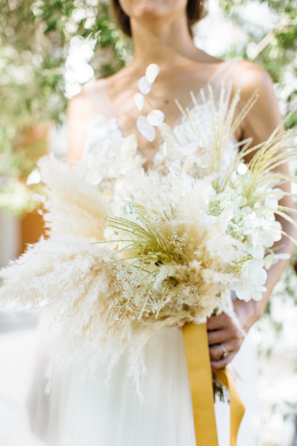 Palm Springs Boho Wedding, Dried Floral Bridal Bouquet, Cream and Mustard Florals.