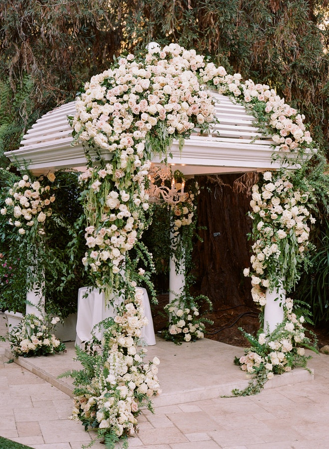 Beverly Hills Wedding, Floral Wedding Gazebo, Garden Wedding.