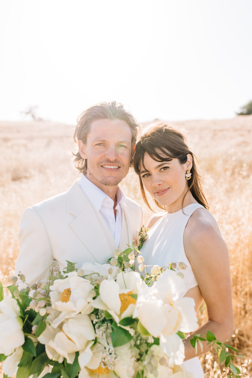 Santa Ynez Wedding, Boho Bride, White Tux Groom, Wedding Style.