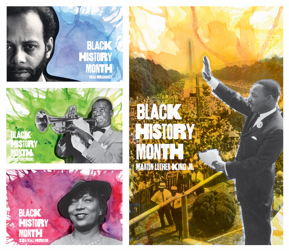 Clockwise from top: Haki Madhubuti, Dr. Martin Luther King, Jr., Zora Neale Hurston, and Louis Armstrong.