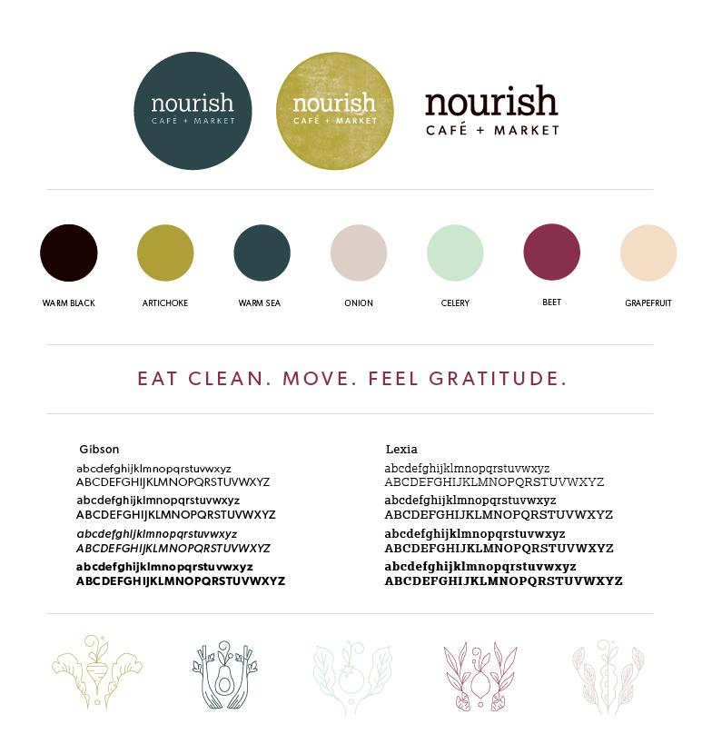 The final Nourish brand board, via Hoot Design Co.