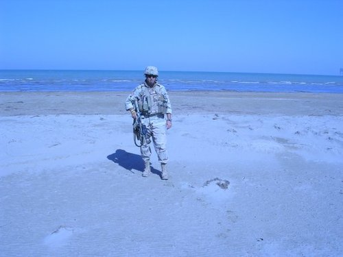 On the sands of Mogadishu, Somalia while deployed with the Marines.