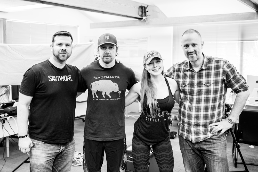Tyler with (from left to right) Mike Dowling (Director of Talent and Community Outreach at We Are The Mighty), girlfriend Jaclyn Marsh ( Owner of Red's Pantry), and Mark Hyatt (SVP of Brand Partnerships at We Are the Mighty).