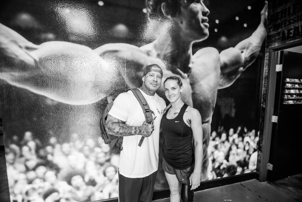 """Kirstie stands with her trainer, Ryan Idziak at """"Self Made Training Facility"""" in Murrieta, CA."""
