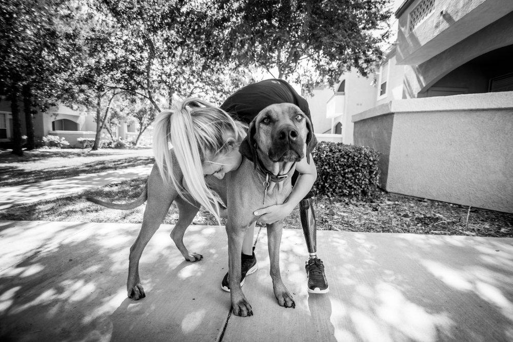 Kirstie with her dog Cooper.
