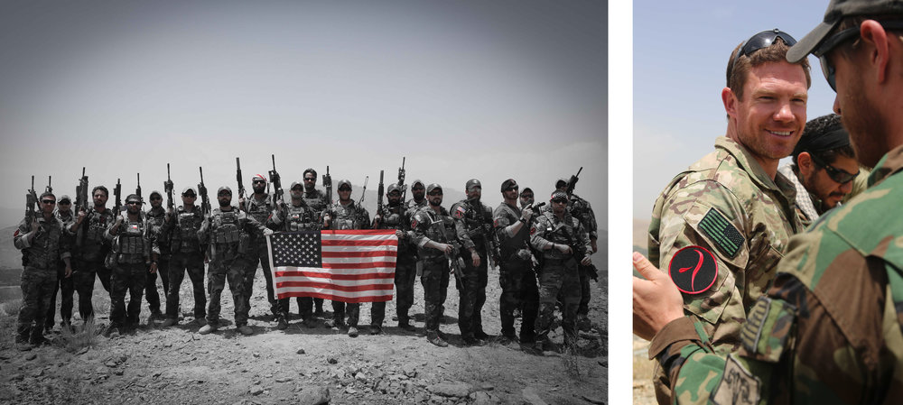 Left: Nate Boyer with his Special Operations unit in Afghanistan.  Nate is seen far left.  Right: Boyer stands with an Iraqi Commando.