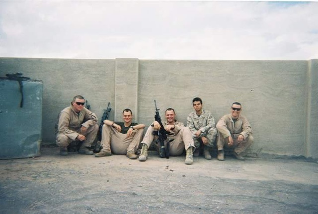 Liam Fuller with fellow Marines of 2/7.