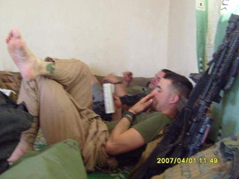 Fuller during some very rare down time,back at the COP in Fallujah.