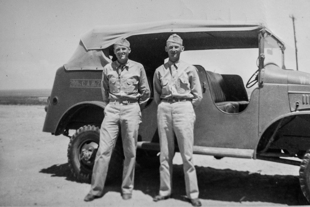 Alfred (left) with his brother Claude Haws (right) in 1941 at Ft. Bliss shortly before they left for the Pacific Theater.