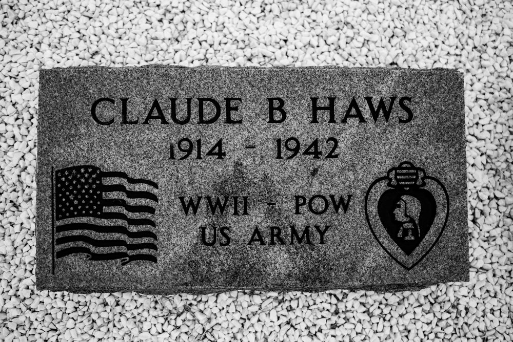 Claude Haws' memorial sits in Logan, New Mexico.  His niece and her husband designed the marker in homage to his WWII service and death at Camp O'Donnell.  His body is still in the Philippines.