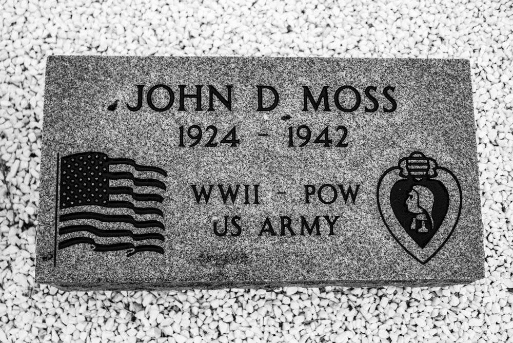 Alfred's brother-in-law John Moss' memorial.  He was 18 when he was executed by the Japanese in a concentration camp.