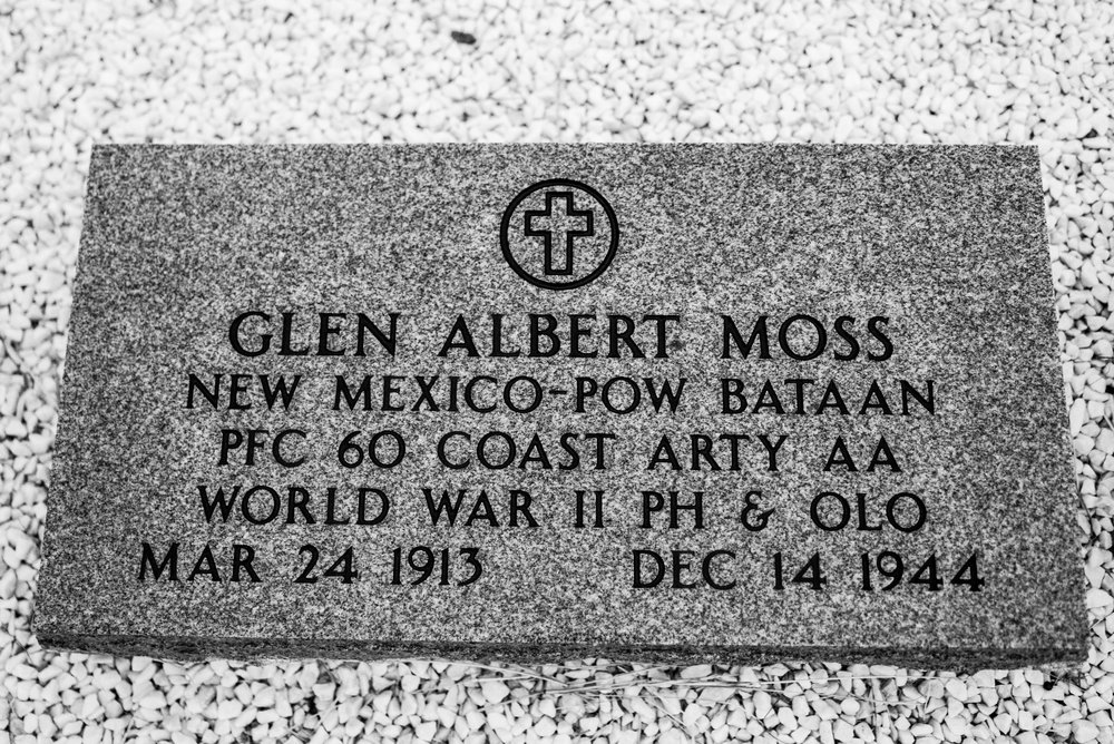 Next to Claude's memorial sits Glen Moss' memorial.  Glen was also Alfred's brother-in-law and was 31 when he was executed by the Japanese.