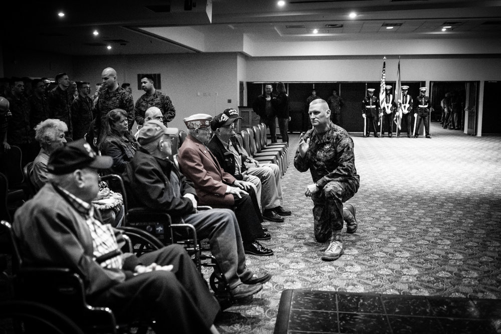 Sergeant Major James S. Moran addresses Woody and his compatriots at the SW Iwo Jima Reunion in Wichita Falls, TX.