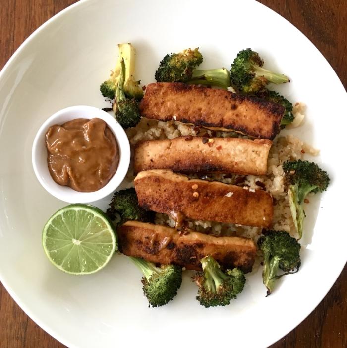 Crispy Asian Marinated Tofu with Roasted Broccoli and Cauliflower Rice
