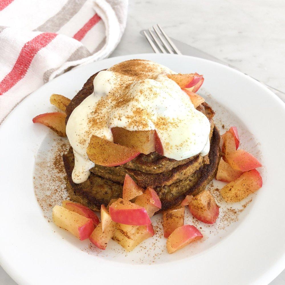 Cinnamon Apple Paleo Protein Pancakes