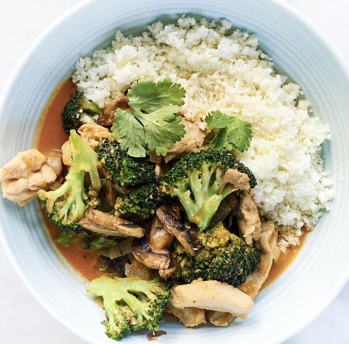Red Chicken Curry with Cauliflower Rice