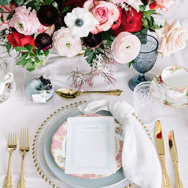 Table details ~ from the beautiful  bridal shower we styled in Spring with an Alice in Wonderland tea party theme! There were so many thoughtfully curated details & the best vendors in the biz to bring this vision to life 💗 | Photography @nattneephotography | Florals, Design & Styling @missfleuriste | Vintage Tableware & Teapots @thevintagekitchen | Tableware, Glasses, Cutlery, Linens @prettypedestals | Furniture, Signage & Props @ashdownandbee | Cake & Dessert art @sweetbloomcakes