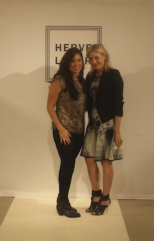 myself and Lubov Azria in the 'Alexis' A-line scroll-jacquard studded dress.
