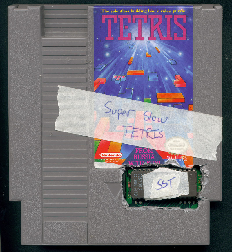 Cory Arcangel,  Super Slow Tetris , 2004, Modded Tetris game cartridge, dimensions variable