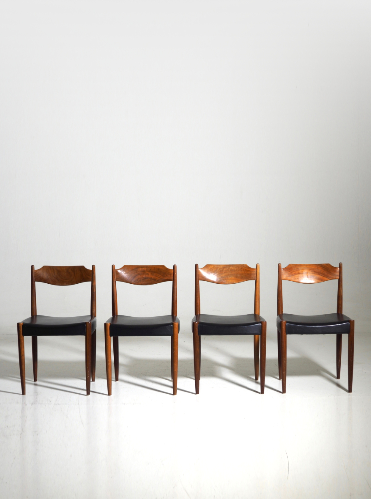 Four chairs in teak, Danish architect, 60's.