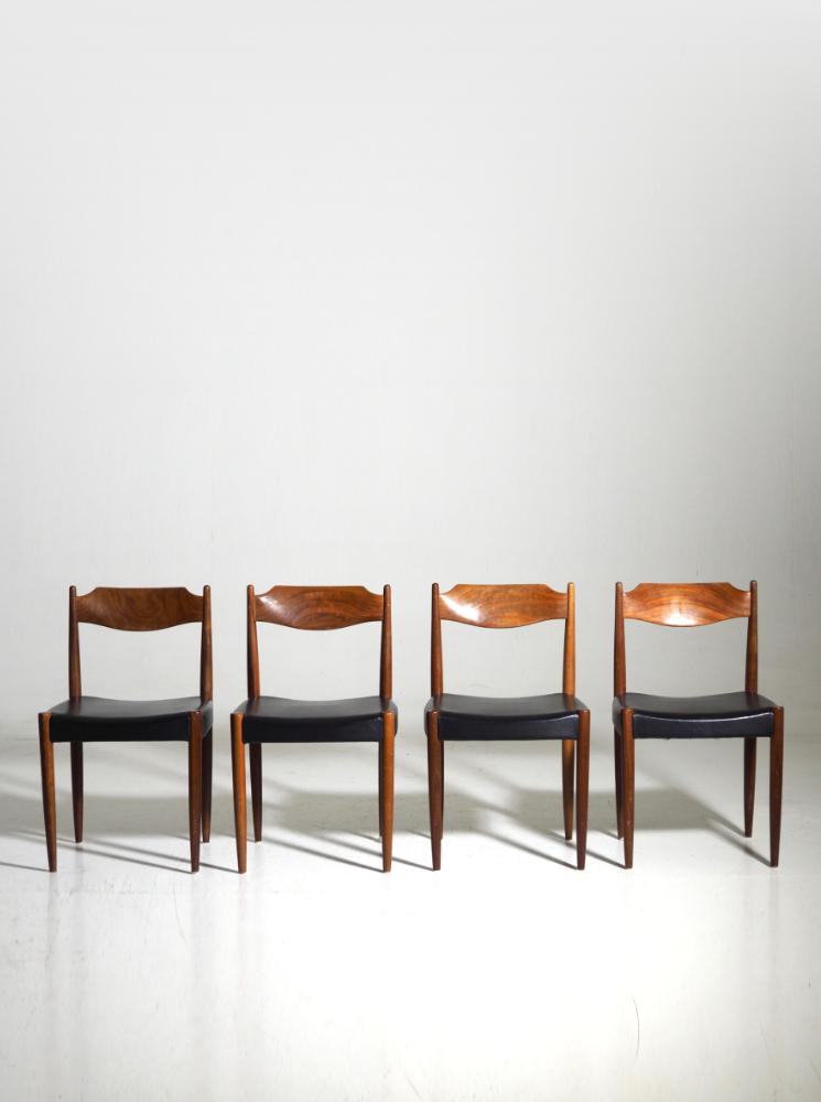Four chairs in teak, Danish architect, 60's.