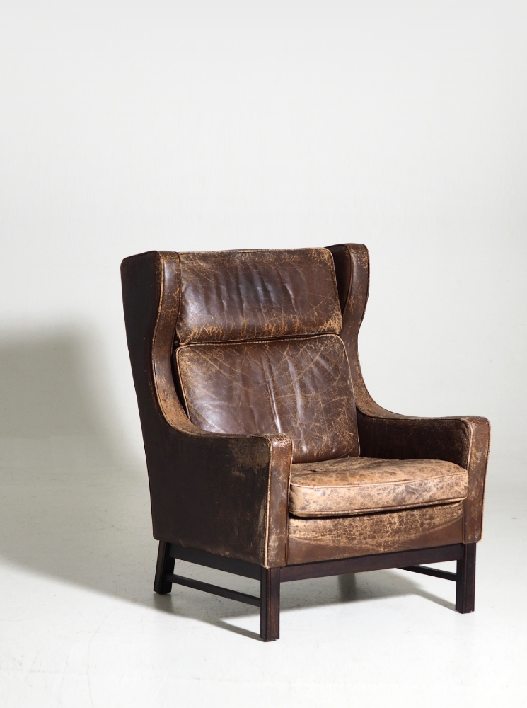 Wingback armchair, by Danish architect, 60's