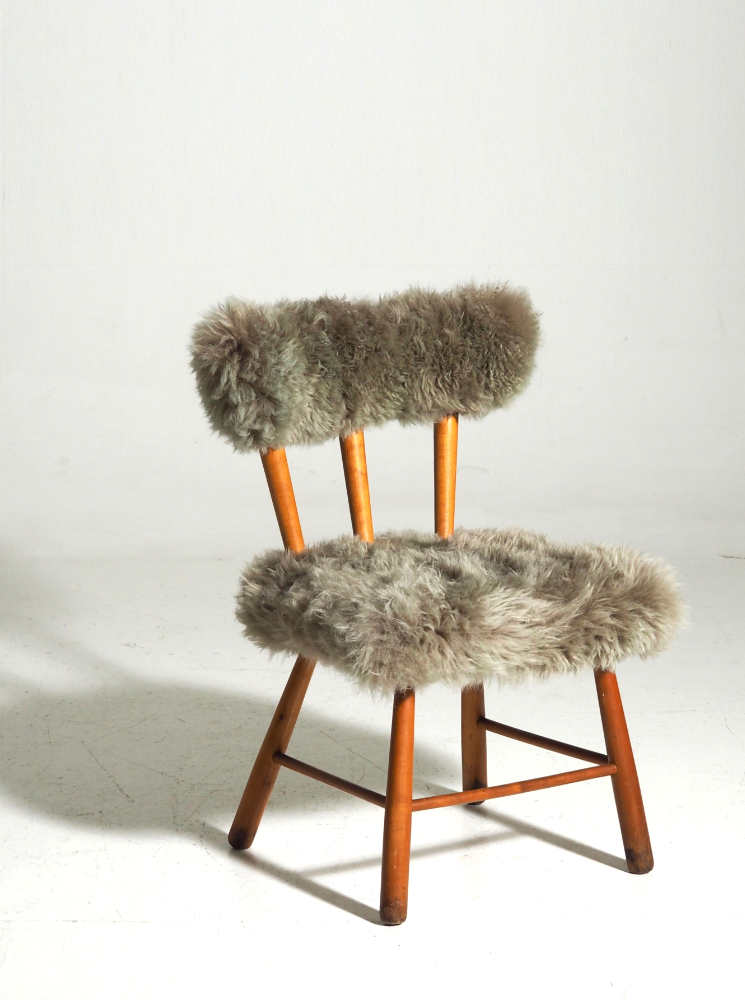 Chair with lamb wool, Danish architect, 60's