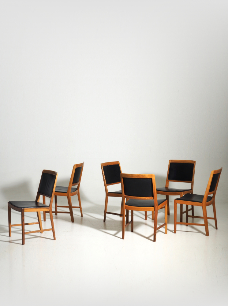 Six chairs in American walnut, 60´s, Bertil Fridhagen