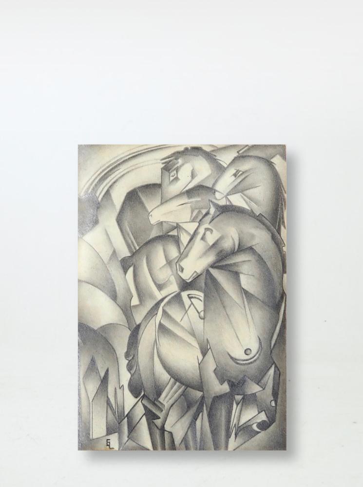 Cubistic drawing, signed FL? EL?
