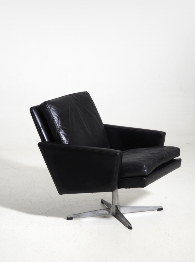 Danish chair, black leather, circa 1960