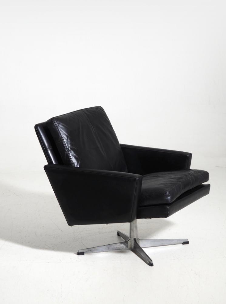Danish chair,black leather, circa 1960