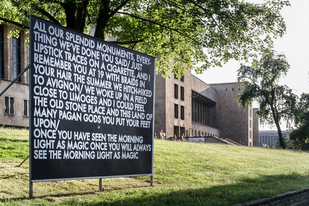 "Robert Montgomery, ""Echoes of Voices in the High Towers"", Berlin 2012, billboard piece - Flughafen Tempelhof, Berlin"