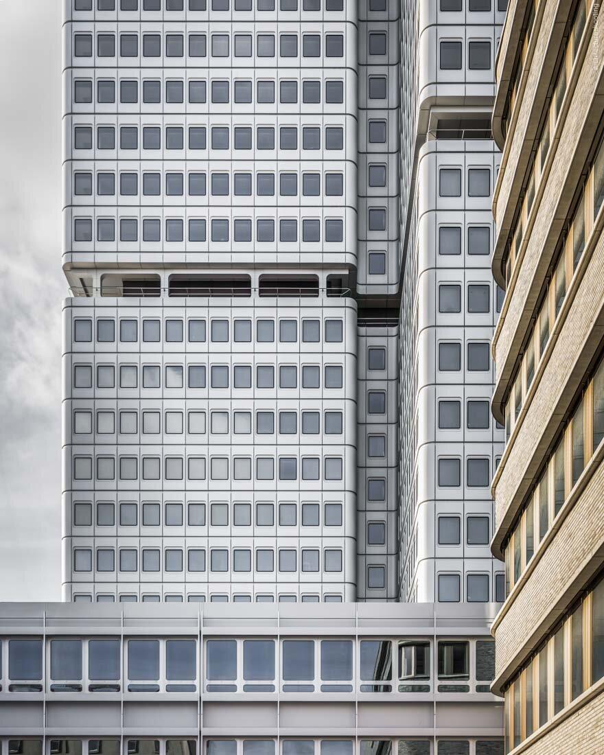 Gebäude der Deutschen Rentenversicherung-Bund in Berlin, Architekt Hans Schaefers 1973-77. Sanierung und Neubau 2017 durch Gerkan, Marg und Partner