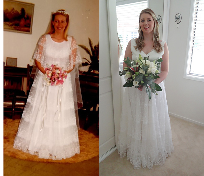 An eighties wedding dress revitalised: before and after.
