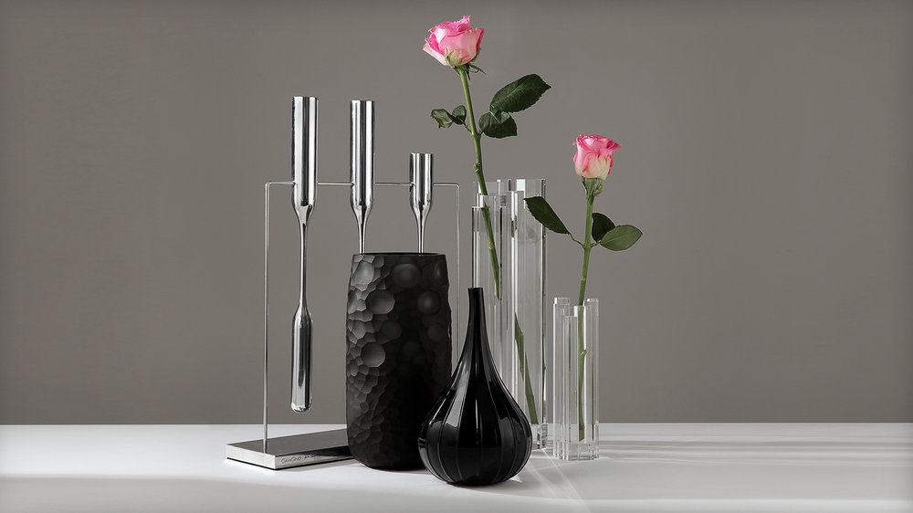 Studio photography example: still life on grey background, reflective products