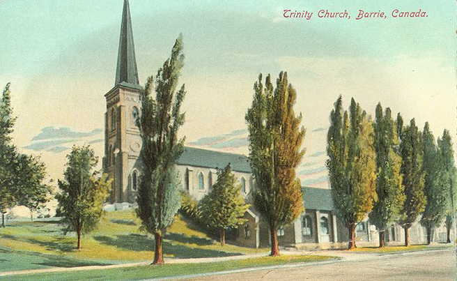 Trinity about 1880 with the Parish Hall that was built in 1870