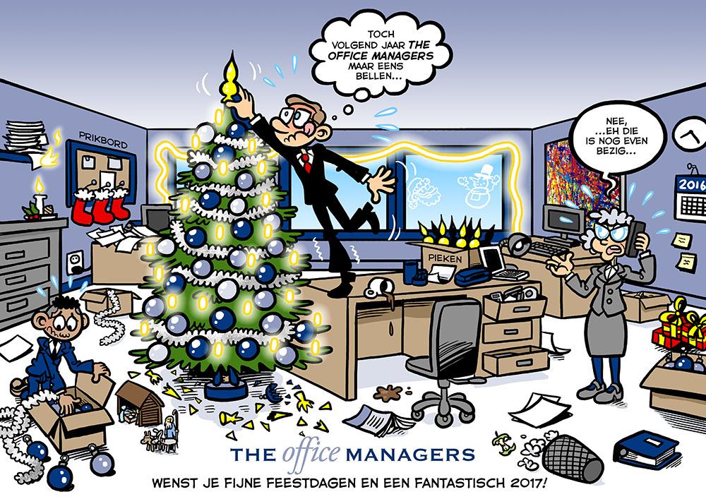 Voor The Office Managers mocht ik een cartoon kerstkaart maken. Het is een vrolijke, drukke boel geworden om de chaos te benadrukken die een Office Manager voor u had kunnen voorkomen.