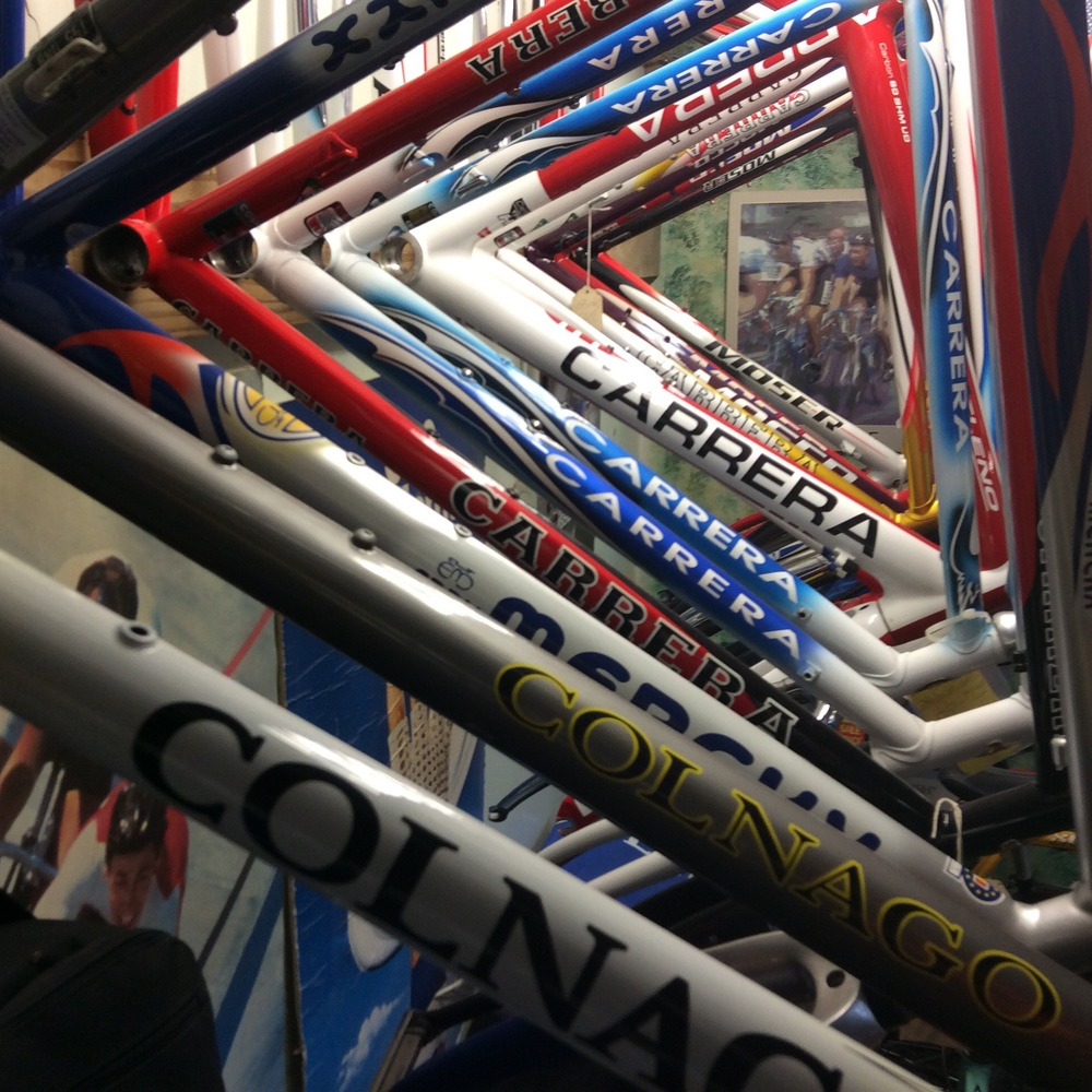 Colnago, Merckx, Carrera, and Moser frames waiting to be built up.
