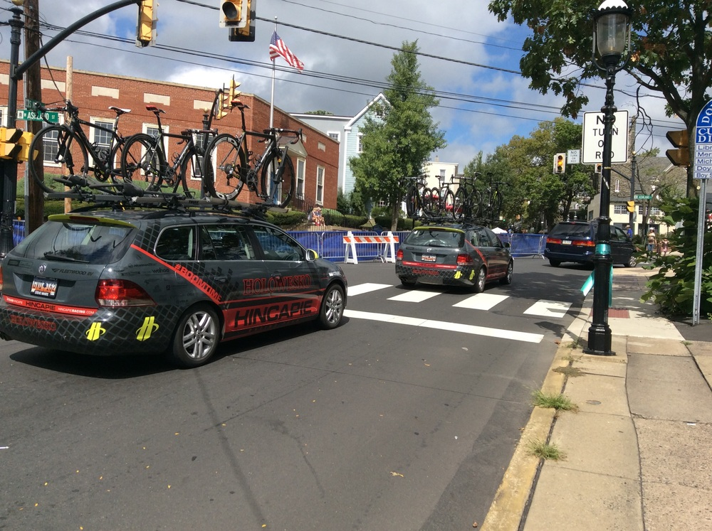Hincapie Sportswear Development Team rolling into town.