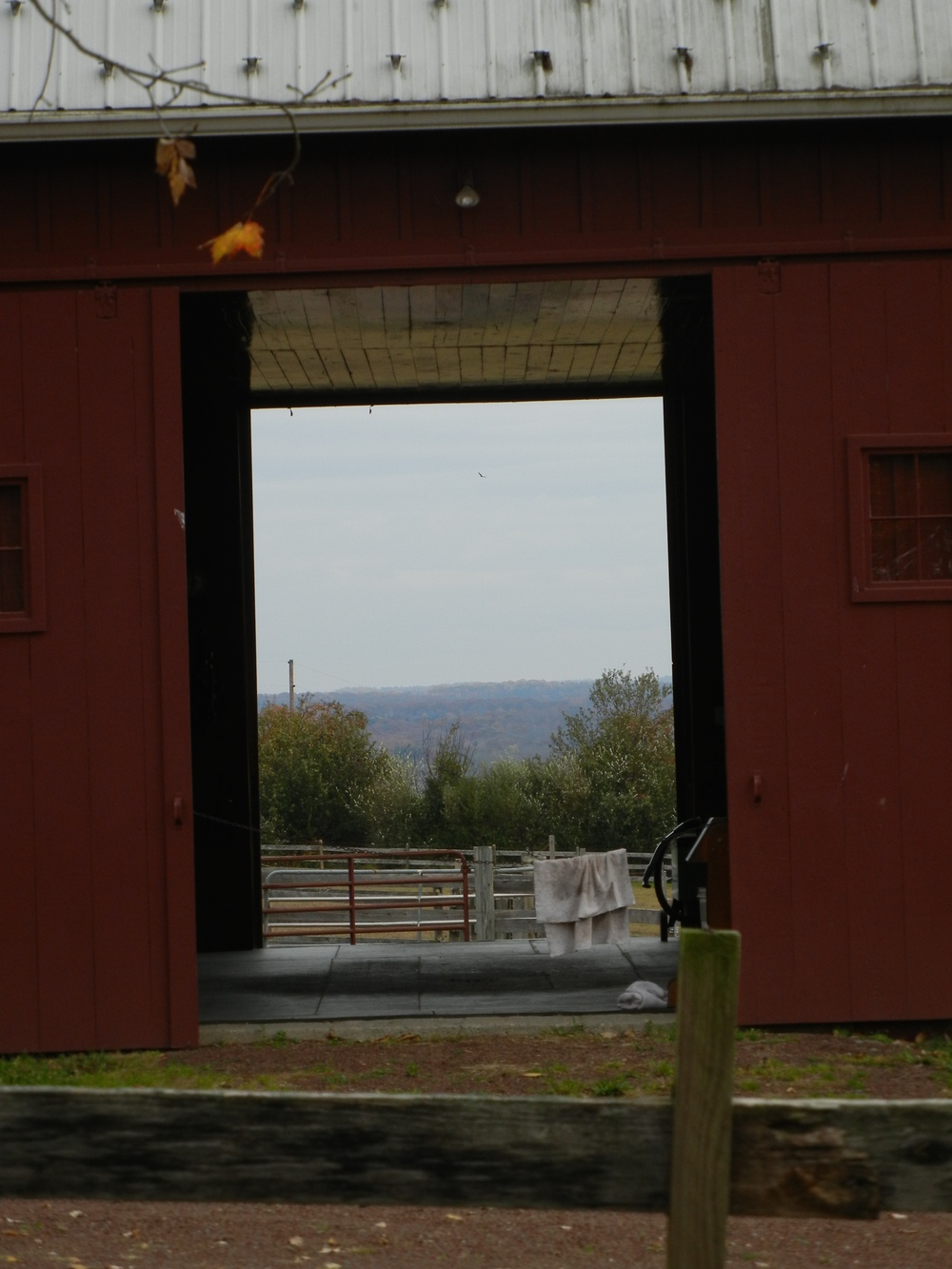 The view of New Jersey hills through the barn door of a farm atop Tinicum Church Road / Chestnut Ridge Road.