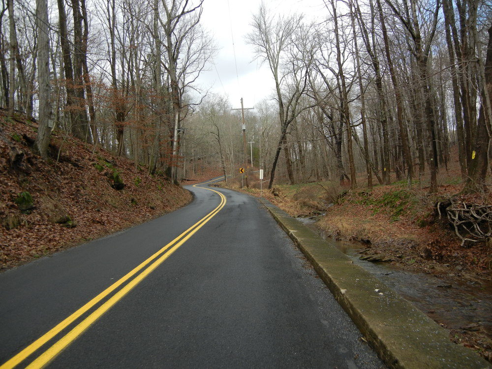 Tinicum Church Road with Swamp Creek on the right. At about four miles long this is a steady climb, but a lot of fun to come down.