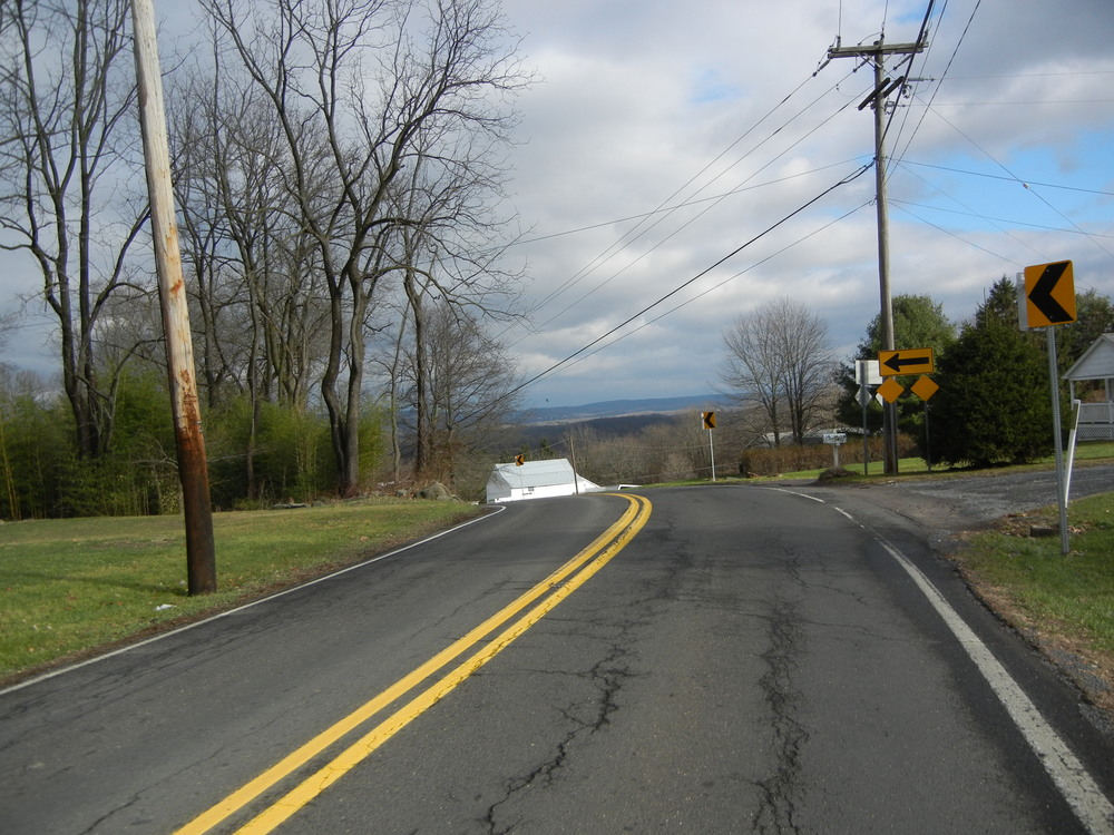 The top of Bridgeton Hill Road. That's New Jersey in the distance. This is a rapid descent to the River.