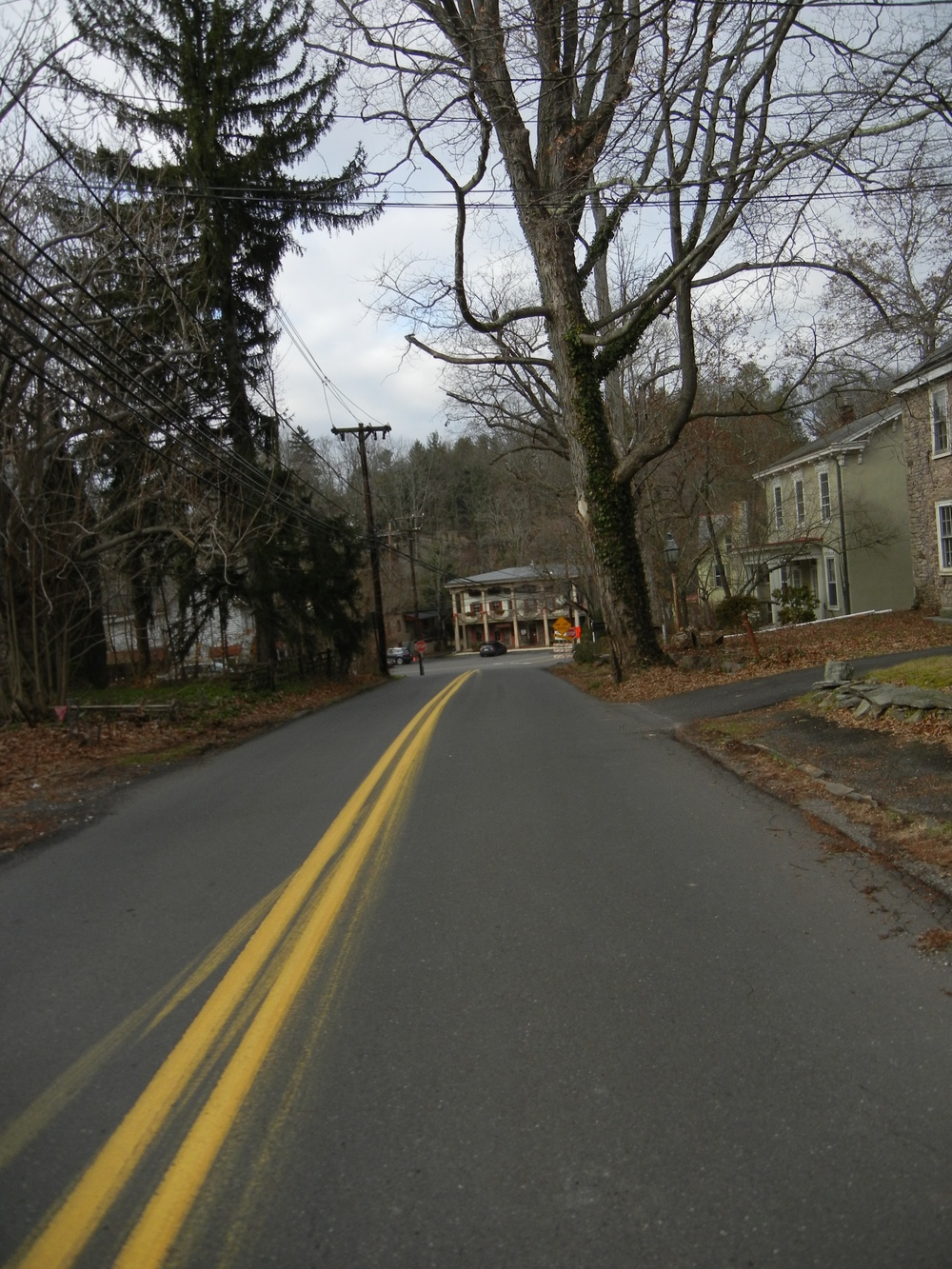 On the approach to Carversville. The Carversville Inn is center, a building that was present during the Revolutionary War times.