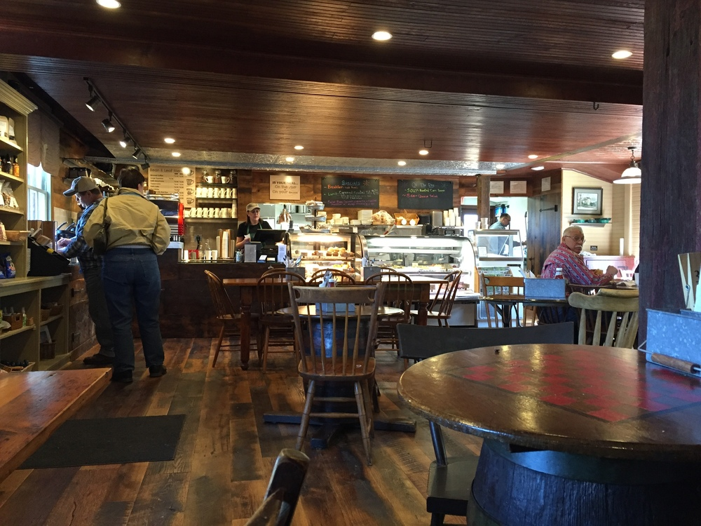 The interior of the renovated Lumberville General Store maintains the old construction feel.