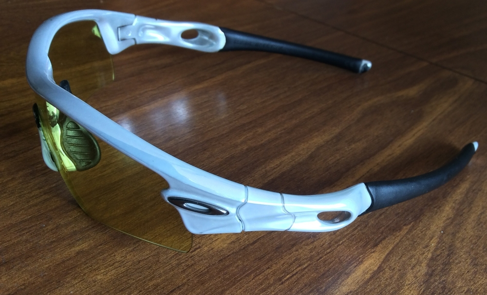 The first generation Radars with yellow lens, perfect for fall/ spring low-light rides at sunset or during cloudy days. These glasses are almost ten years old and have been used for everything from cycling to cross-country skiing.
