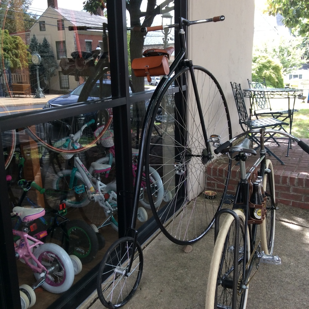 A high wheel on display at Doylestown Bike Works bike shop. It looks race ready.